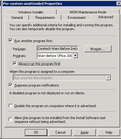 Running a custom notification before installing a program