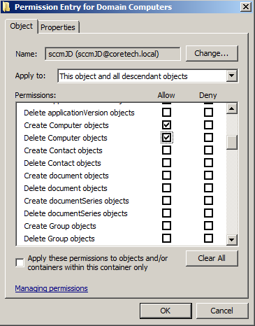 Creating a JoinDomain account for use with SCCM OSD – CTGlobal