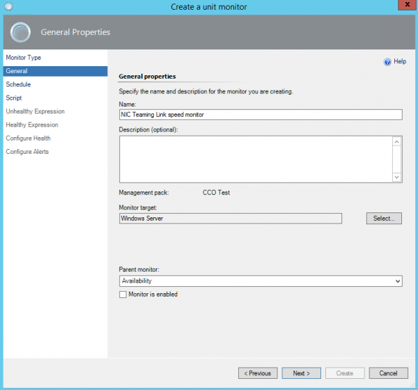 Example of setting up a custom monitor in SCOM with a
