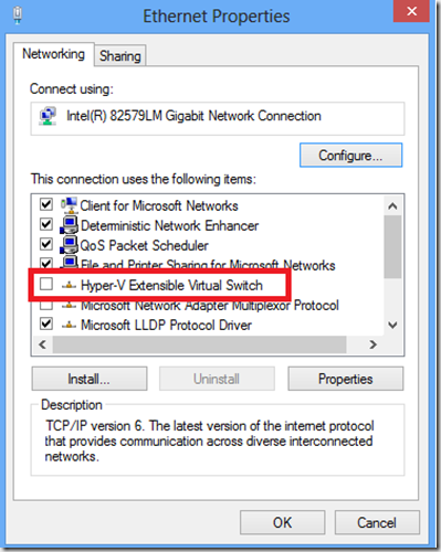 No cable connection when running Hyper-V on a Windows 8