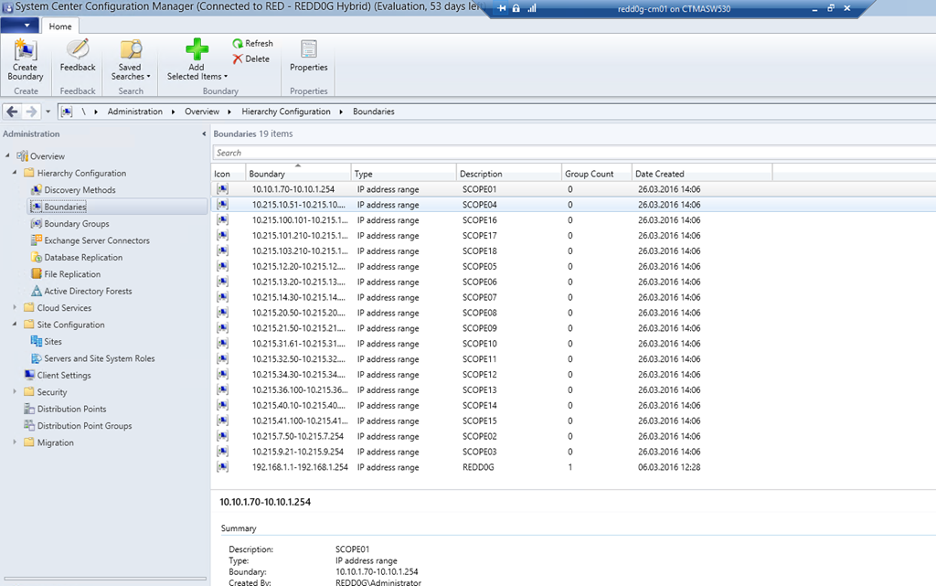 Create Boundaries in ConfigMgr based on your DHCP-Scope using