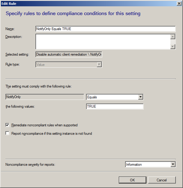 Configure Client remediation in ConfigMgr  2012 to monitor