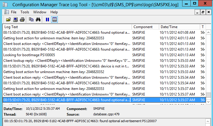 SMSPXE Log in SCCM 2012 – CTGlobal