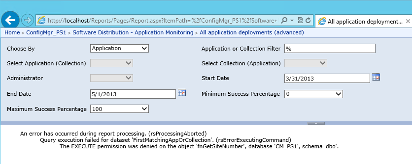 Error when running Application reports in ConfigMgr 2012 – CTGlobal