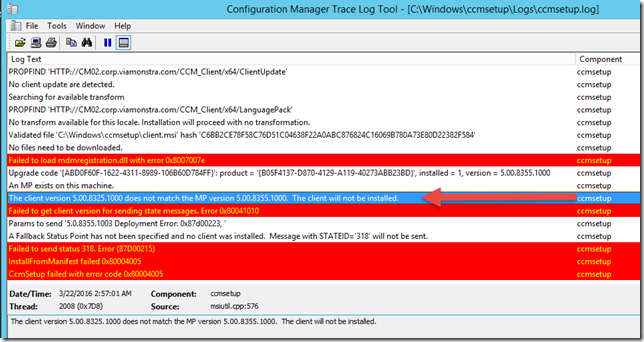 ConfigMgr Client failing to install on Management Point